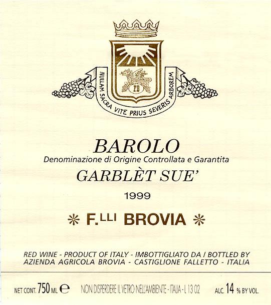 Brovia Barolo Garblét Sue D.O.C.G